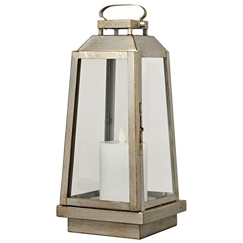 Amazon Brand – Stone & Beam Modern Traditional Decorative Metal and Glass Table Lantern with LED Candle Light - 6 x 6 x 14 Inches, Champagne Silver, For Indoor Outdoor Use