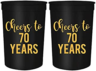 Cheers to 70 Years, 70th Birthday Party Cups, Set of 12, 16oz Black and Gold Stadium 70th Birthday Cups, Perfect for Birthday Parties, Birthday Decorations