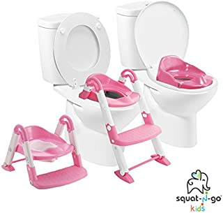 Babyloo Bambino Booster 3 in 1 - Collapsible Toilet Training Step Stool assists Your Toddler to go While They Grow! Convertible Potty Trainer for All Stages Ages 1-4 (Pink)