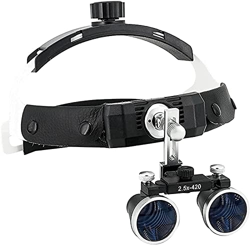 Lupa Dental, Lupa con luz, lupas quirúrgicas con Clip de Aumento 2.5X / 3.5X, Gafas con Diadema con lámpara LED, Ajuste de Manos Libres