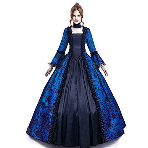 Medieval Queen Vitorian Dress Gothic Lace Bell Sleeve Ball Gown Renaissance Royal Fancy Masquerade Vampire Costume (Blue, L)
