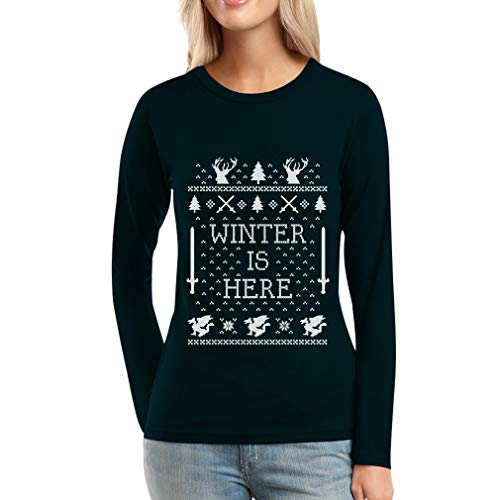 Shirtgeil Winter Is Here Maglione Natale Ugly Christmas Maglia Da Donna A Maniche Lunghe Large Nero