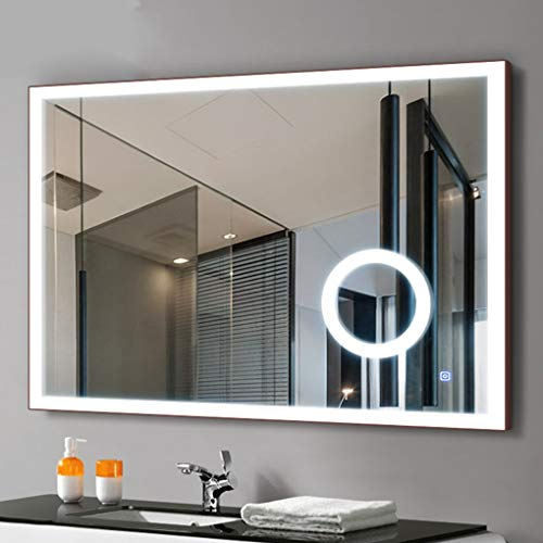 Horizontal Led Lighted Wall Mounted Bathroom Vanity Mirror, with Touch Button, 6000K White,IP44 Waterproof, 3X Magnification