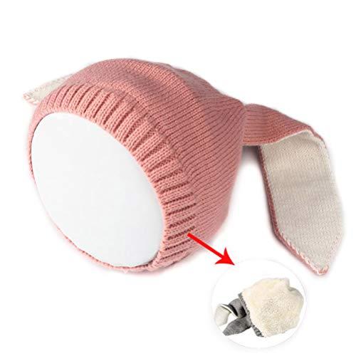 Kikier Baby Mütze mit Hasenohren aus weichem Plüsch, warm, Wintermütze für Kinder und Kleinkinder, FA0775204_PK-1254-1623251981, rose