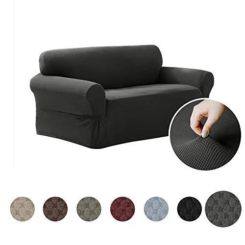 MAYTEX Pixel Funda para Muebles de sofá elástica Ultra Suave, 1 Pieza, Casual, Carbón, Sillón de Dos plazas, 1