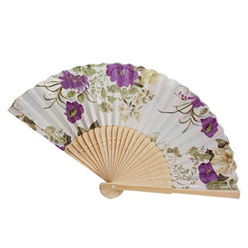 Cinhent Hand Folding Fans Chinese Tranditional Cultural Customs Vintage Bamboo Folding Hand Held Flower Fan, Dance Party Pocket Gifts,Performance Decoration (I)