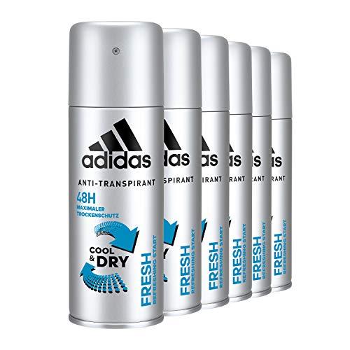 adidas Fresh Anti-Perspirant Deo Body Spray für Herren mit zuverlässige Geruchs- und Schweißhemmung bis zu 48 h, 6er Pack (6 x 150 ml)