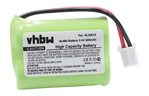 vhbw NI-MH Akku 400mAh (2.4V) für schnurlos Festnetz Telefon Audioline DECT 7500, 7500 Micro, 7501, 7800, 7800B, 7801 wie SL30013.