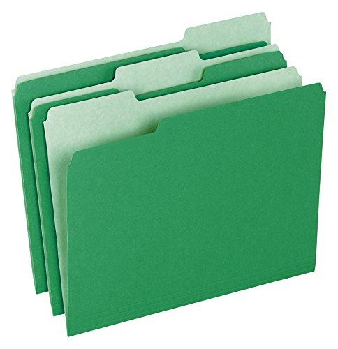Pendaflex Two-Tone Color File Folders, Letter Size, 1/3 Cut, Bright Green, 100 Per box (152 1/3 BGR)