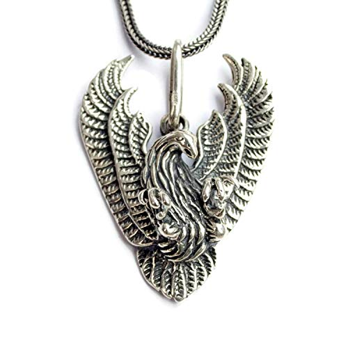 925 Oxidized Sterling Silver Large Flying Eagle Pendant Necklace/Symbol of Freedom Strength and Courage/Hawk Bird Tribal Animal Totem/Native American Jewelry for Men Women/ 3d Handmade