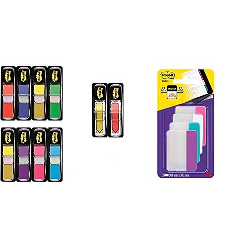 3M Post-It Index Mini Promotion - 8 x 35 Marcadores adhesivos, 2 x 24 Post-it Index flechas adhesivas 43.2 x 12 mm – surtidos + 686-PWAV - Pack de 24 marcapáginas, varios