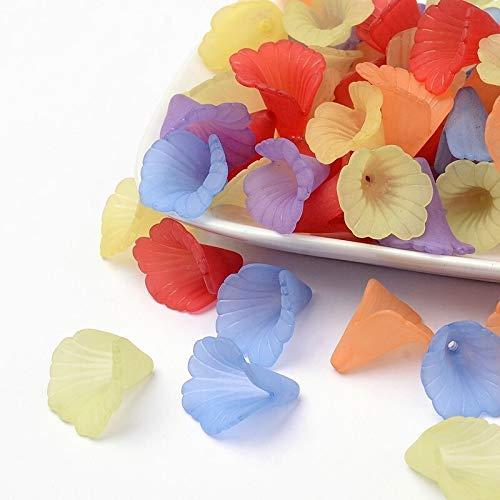 YJZZ 20pc 20 * 20 * 2 mm Mixta Granos de la Flor Transparente de acrílico Esmerilado de teñido for la joyería DIY Accesorios Encontrar la elaboración de Collares Pulsera