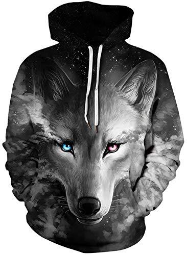 Loveternal Wolf Pullover Realistische 3D Printed Pullover Unisex Harajuku Langarm Casual Sweatshirt mit Kapuze XL