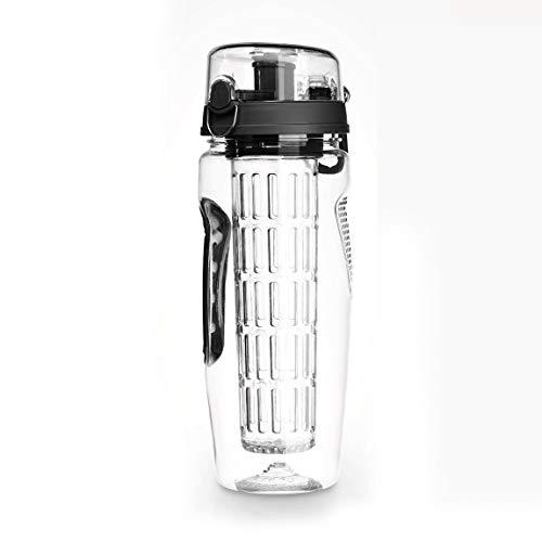 Botella de agua con infusor de frutas, 1000 ml, a prueba de fugas, segura y saludable, ecológica, para viajes, camping, limón, fruta, limón y (color: negro)