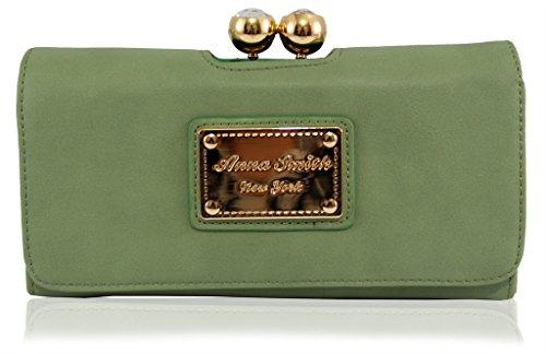 Anna Smith Martinee Genuino Nuovissimo Con Portafoglio Con Placca Oro Logo Anna Smith, Borsa, Frizione Con Scatola Regalo - Verde