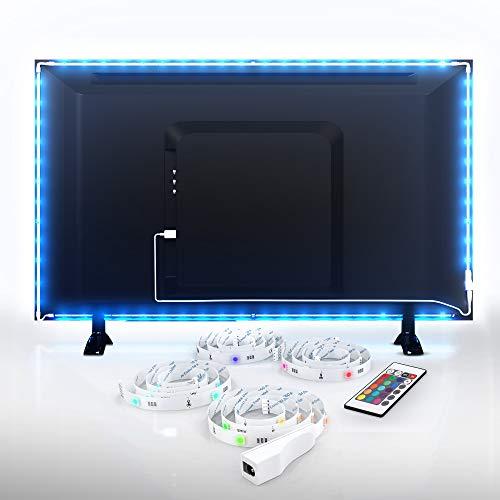 B.K.Licht LED TV Hintergrundbeleuchtung, 2 m, USB Fernbedienung, Band Beleuchtung Fernseher PC Bildschirm 40-60 Zoll, selbstklebend Stripe Streifen Lichtleiste Farbband mit Farbwechsel Effekte