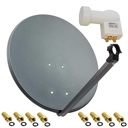 PremiumX Satellitenschüssel 60cm SAT Antenne Anthrazit Satelliten Komplettanlage Satellitenantenne Quad LNB 8 F-Stecker 4 Teilnehmer