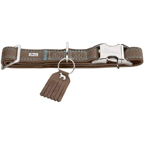 HUNTER LUCCA ALU-STRONG Hundehalsung, Hundehalsband, Aluminium Steckverschluss, Leder, weich, M, walnuss