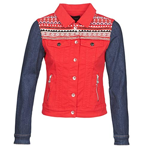 Desigual Duval Jacken Damen Rot/Blau - DE 40 (EU 42) - Jeansjacken Outerwear