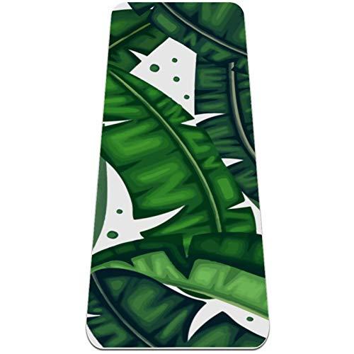 nakw88 Botanical Banana Leaves - Esterilla de yoga antideslizante para yoga, pilates y ejercicios de suelo (72 x 24 x 6 mm) para mujeres y niñas