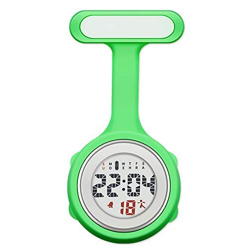 Reloj con mosquetón, Broche de Reloj Fob de Enfermera con Clip de Silicona Personalizado con Pin para médicos, Reloj Digital Fob de Cara Luminosa para una fácil Lectura