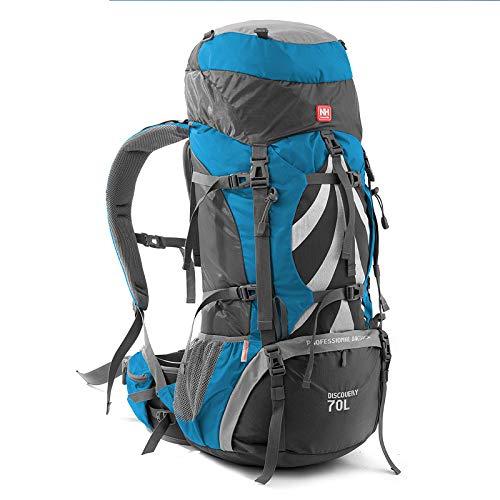 WMC Randonnée Sac à Dos, équipement de Camping 70 litres Cadre intérieur Sac à Dos Randonnée à Dos randonnée en Plein air Voyage Camping Backpack,Bleu