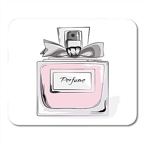 Mousepad Haute Couture Aquarel Parfum Roze Fles in Vrouw Glamour Beauty Aroma Vloeibare Cosmetische Geur Muismat 25X30cm