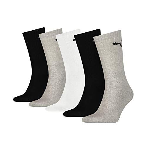 PUMA 7312 Sport Socks (5 Pack) Calcetines, Blanco, Gris y Negro, 43-46 (Pack de 5) Unisex Adulto