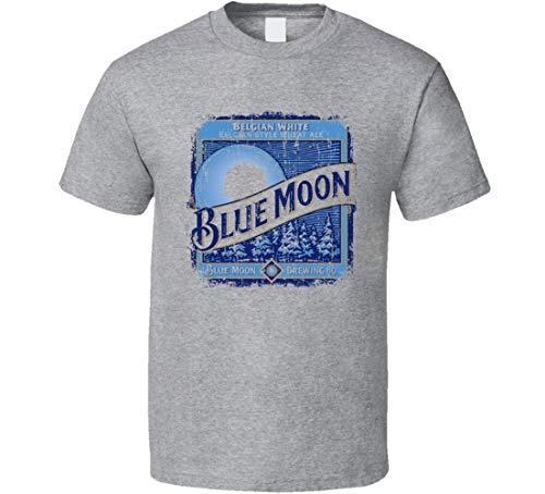 Blue Moon Wheat Ale - Camiseta deportiva para amantes de la cerveza belga (aspecto desgastado), color gris Negro Negro ( XL