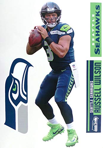 """Russell Wilson FATHEAD + Seattle Seahawks Logo Set Official NFL Vinyl Wall Graphics 17"""" INCH"""