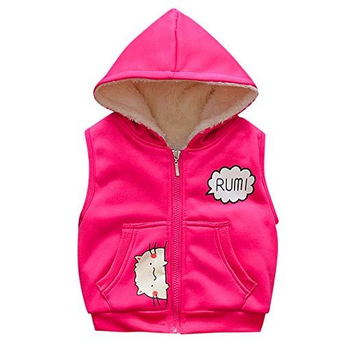 Kobay Kobay Baby Jungen Mädchen Infant Karikatur Kapuzenjacken Warme Veat Weste Mantel(3-6M,Hot Pink)