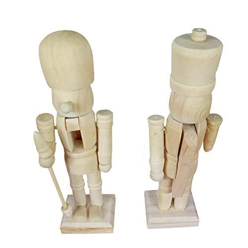 tanbea-UK Marioneta cascanueces de 12 cm, adornos en forma de soldado de embrión blanco con cepillo y 6 pigmentos, cascanueces de madera sin pintar, figuras de juguete de Navidad, 6 piezas clásicas