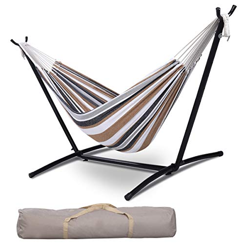 Giantex Hammock with Stand, 9 Ft Rope Double Hammock and Hammock Stand, 2 Person Sleeping Portable...