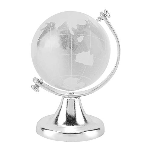 Crystal Globe, Crystal Ball Glass Sphere Display Globe, Glass Globe Round Earth World Map Ball Sphere Home Office Decor Gift Globe Paperweight(Silver)