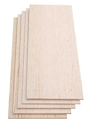 SGerste - Hoja de madera de balsa de 310 x 100 mm, 5 piezas, placa de madera ligera para bricolaje, avión, barco, casa, modelo de barco, 2,5 mm