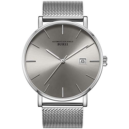 BUREI Herren Mechanische Uhren Stilvolle, ultraschlanke, graue Analoguhr mit Datumsanzeige aus Saphirglas und silbernem Edelstahlgitter