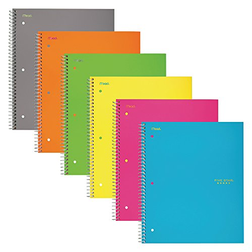 """Five Star Spiral Notebooks, 3 Subject, Wide Ruled Paper, 150 Sheets, 10-1/2"""" x 8"""", Assorted Colors, 6 Pack (73449)"""