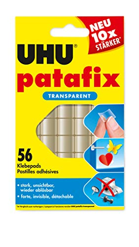 UHU Patafix transparent, Durchsichtige, doppelseitige Klebepads für schnelles und einfaches Befestigen und Fixieren, 56 Stück