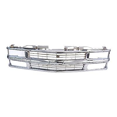 Titanium Plus Autoparts 94 Compatible With CHEVROLET Chevy Blazer 94-99 Chevy C1500 K1500 C1500 Suburban C2500 K1500 K2500 94-00 Chevy C2500 C3500 K2500 K3500 95-99 Tahoe Front Grille GM1200463 Chrome