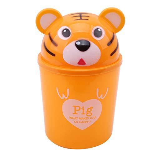 Pinhan Cartoon Mini Mülleimer Schütteln Mülleimer Kreative Desktop-Abfalleimer für Küche oder Büro Aufbewahrungsbox, gelber Tiger
