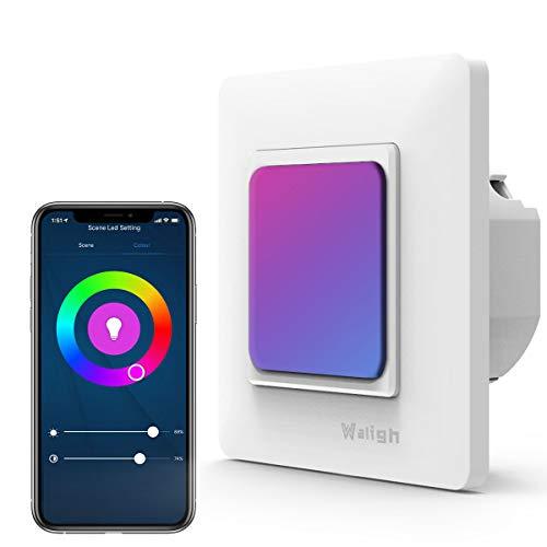 2 in 1 Alexa Lichtschalter + Wlan LED Nachtlicht, Wlan Lichtschalter mit Alexa steuern und Google, LED Nachtlicht mit Farbtemperatur 2500K bis 6500K,16 Millionen Farboptionen