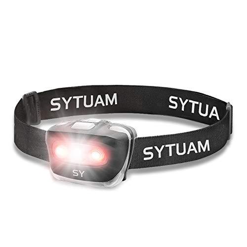 SYTUAM Stirnlampe LED 4 Modi IPX4 wasserdicht Leistungsstarker Scheinwerfer 5w 210lm, Ultraleicht und stoßfest Stirnlampe für Erwachsene Kinder Lesen, Laufen, Camping