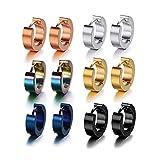 Juego de 6 pares de pendientes de aro de acero inoxidable 316L para hombres y mujeres(-)
