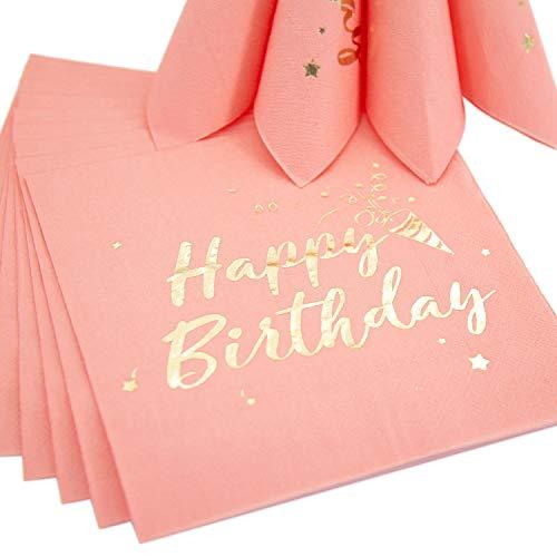 Oblique Unique® 20 Happy Birthday Servietten Tischdeko für Geburtstag Party Kindergeburtstag Rosa Gold Dekoration