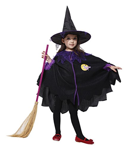 outgeek Heksen kostuum voor kinderen, Halloween kostuum heks toverer cape met hoed voor kinderen Large Black3.