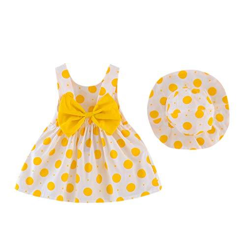TOPKEAL Mädchen Baby Kleidung Sets Ärmelloses Bowknot Kleid + Hut 2 Teile/Satz Fotoshooting Sommer Kleinkind Kostüm Geschenk Babyset Outfits (Gelb, 6-12 Monate)