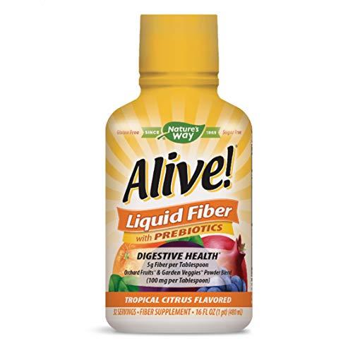 Nature's Way Alive! Liquid Fiber Sugar-Free w/Prebiotics, 5g Fiber per TBS, Citrus Flavored, 16 Oz.