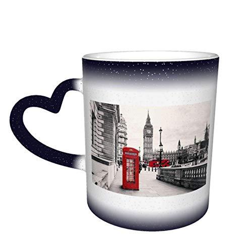 Cabina de teléfono roja London Street Starry Sky Taza que cambia de color, tazas de café para el hogar, tazas impresas, regalos para amantes de la familia, amigos