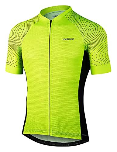INBIKE Maglia da Ciclismo Estivi Uomo Maniche Corte Traspirante Asciugatura Rapida Magliette MTB Abbigliamento Mountain Bike MTB (Verde,L)