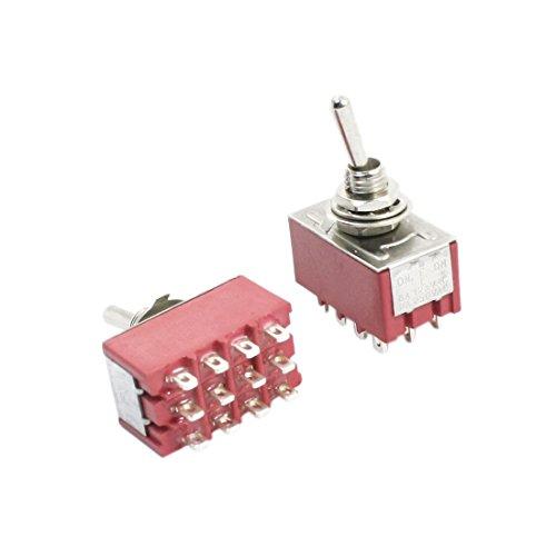 2pcs Rojo AC 125V 6A 4PDT ON/OFF/ON 3 Posiciones 12 Polo Electrónico Interruptor Conmutador